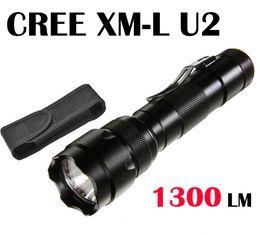 Wholesale Torch Cree U2 - 502B XML U2 Ultrafire WF-502B Cree XM-L U2 1300 Lumen 5-Mode LED Flashlight Torch Lamp by 18650 battery+Holster