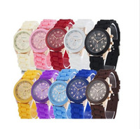 Wholesale Geneva Crystal Watches - Free shipping 15 colors Ladies GENEVA Watch Classic Gel Crystal Silicone Jelly watch 10pcs lot