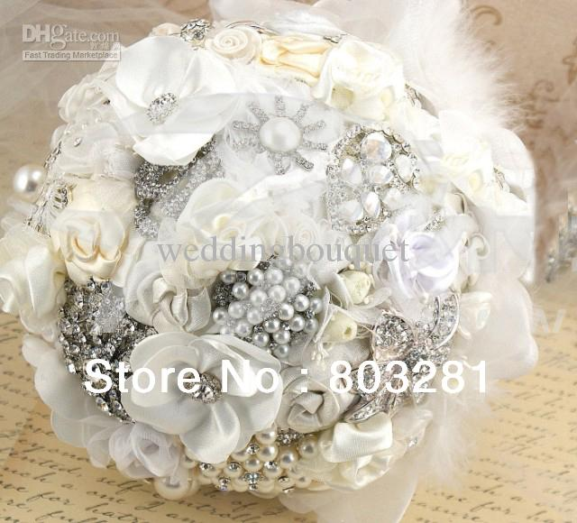 Creative Design Rice White ,Silver Brooch Diamond ,Brides Wedding ...