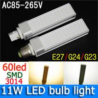 Wholesale G24 Led Replacement - 11W E27 G24 LED light 60 leds LED Bulb Lamp Lighting 1100lm LED PLC Replacement led Spotlight AC85-265V free shipping DHL