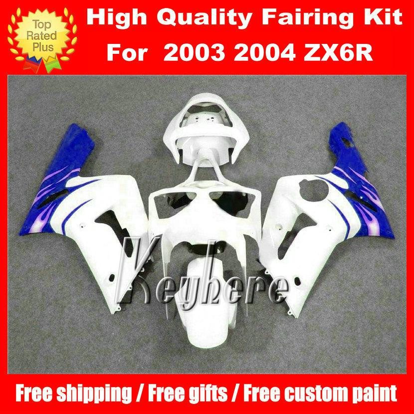 Free 7 gifts ABS race fairing kit for Kawasaki Ninja ZX 6R 2003 2004 ZX6R 03 04 ZX-6R G1n fairings new hot sale white blue motorcycle parts