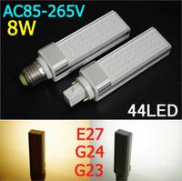 Wholesale Led Light Plc - 85V-265V E27 G24 8W LED bulbs 44leds 3014 SMD LED PLC Light LED Lamp White Warm White High quality 2pcs lot