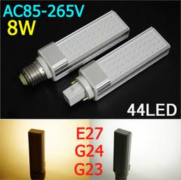 Wholesale G24 8w Cool White - 85V-265V E27 G24 8W LED bulbs 44leds 3014 SMD LED PLC Light LED Lamp White Warm White High quality 2pcs lot