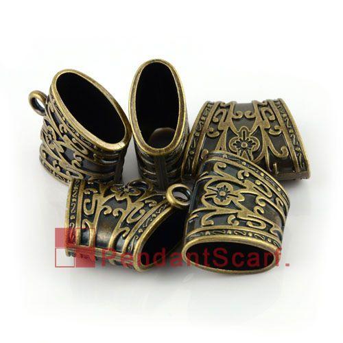 Top Fashion DIY Jewellery Pendant Scarf Accessories Antique Bronze Plastic CCB Slide Tube Bails, AC0081