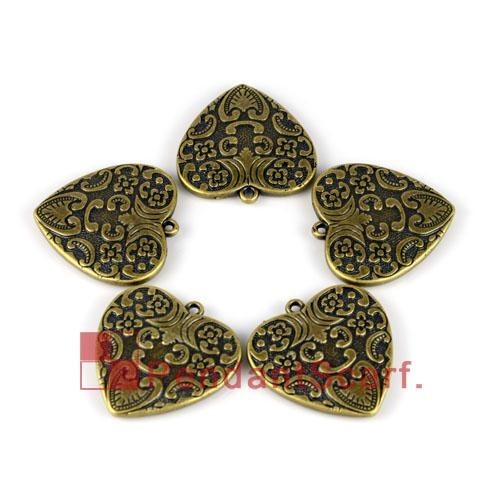 Popular DIY Jewellery Scarf Accessories Antique Bronze Plated Plastic CCB Heart Pendant Charm, AC0080B