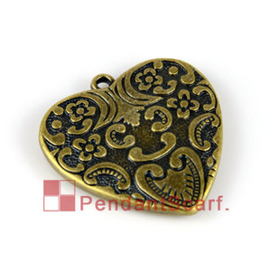 Wholesale antiques jewellery resale online - 12PCS Popular DIY Jewellery Scarf Accessories Antique Bronze Plated Plastic CCB Heart Pendant Charm AC0080B