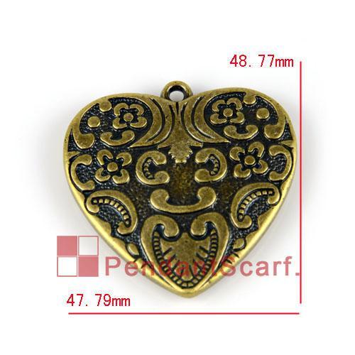 / Populaire Bijoux BRICOLAGE Accessoires Écharpe Antique Bronze Plaqué En Plastique CCB Pendentif Coeur Charme, Livraison Gratuite, AC0080B