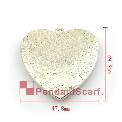 12 UNIDS / LOTE, Caliente de La Manera BRICOLAJE Joyería Collar Resultados de la Bufanda de Plata Plateado CCB de Plástico Del Corazón Accesorios Colgantes, Envío Gratis, AC0080