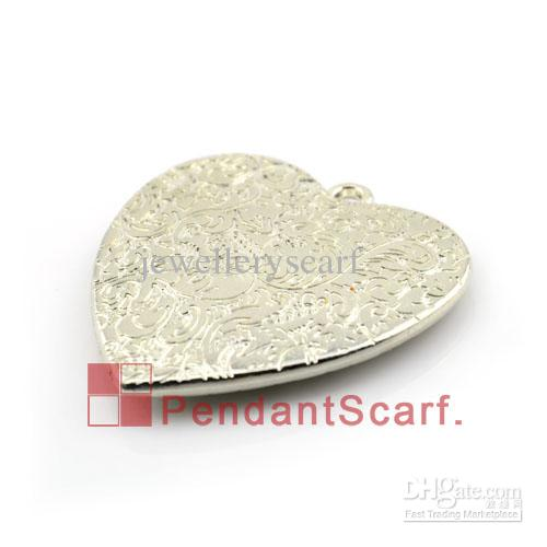 Hot Fashion DIY Jewellery Necklace Scarf Findings Silver Plated Plastic CCB Heart Pendant Accessories, AC0080