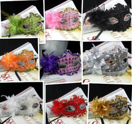 Wholesale adult wedding dress costumes - free shipping Lace feather mask with flowers halloween masks masquerade costume mask FESTIVALPARTY wedding dress