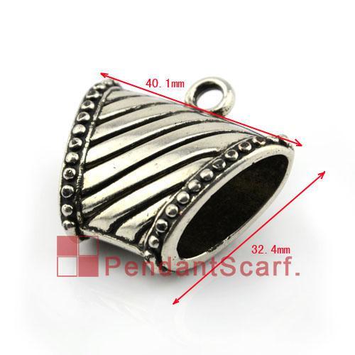 Hot Fashion DIY Jewellery Scarf Pendant Accessories Gun Black Plated Plastic CCB Striped Slide Bails Tube, AC0079C