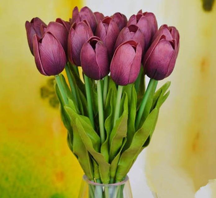 Kunstmatige tulpen 40 stks 30 cm PU real touch kunstmatige simulatie tulp bloem bruiloft bruidsboeketten decoratieve bloemen