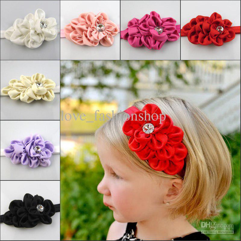 Bandeau bébé Accessoires pour cheveux Fleur populaire Pierre bandeau serre-tête serre-tête pour bébé serre-tête 8 couleurs