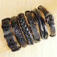 pulseras de cuero para hombre al por mayor-Alta calidad hechos a mano para hombre y mujer pulseras wrap pulsera de cuero genuino de múltiples capas con cuerda trenzada joyería de moda-D136
