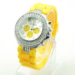 Wholesale Double Diamond Geneva Watches - Geneva Double Diamond watch for women silicone strap Shiny 3 eyes watches fashion free shipping via DHL UPS EMS
