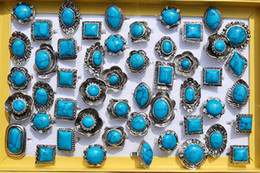 Wholesale gemstone tibetan jewelry - Large tibetan tribe Silver Toneturquoise gemstone rings Adjustable Size R105 New Jewelry 25pcs lot