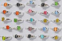 renkli halkalar toptan satış-Renkli Doğal Kedi Göz Taş Taş Gümüş Kaplama Yüzük R10 Yeni Takı 100 adet / grup