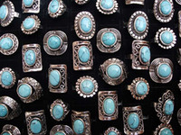Wholesale Tibetan Silver Gemstone Jewelry - Large tibetan tribe Silver Toneturquoise Gemstone Rngs Adjustable Size R76 New Jewelry 25pcs lot
