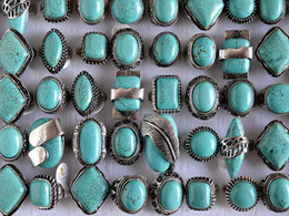 Wholesale Tibetan Silver Gemstone Jewelry - Large tibetan tribe Silver Tone Turquoise Gemstone Rings Mixed Sizes R105 New Jewelry 25pcs lot