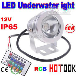 underwater floodlights UK - Wholesale - 10W RGB Underwater Light LED Floodlight 12V Round Aquarium Fountain Lighting with Reflection Cup