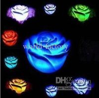 Wholesale Color Changing Candle Floating - Wholesale - 10x LED rose light 7 Changing Color Floating Rose Flower Night Light Candle Lights Decorative lights