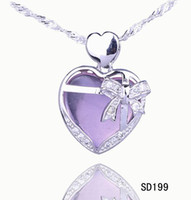 Wholesale Bags Lilacs - Simple Style Lilac Heart Crystal Pendant 925 Sterling Silver Charms Dangle Jewelry Pendant Necklace DIY 5pcs bag Free Shipping SD199*5