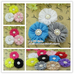Wholesale Diy Flat Backs - 50pcs lot shabby rose flower Vintage Chiffon Shabby Flowers With Metal Crystal Center Flat Back DIY Flower hair accessories HH025+GZ002