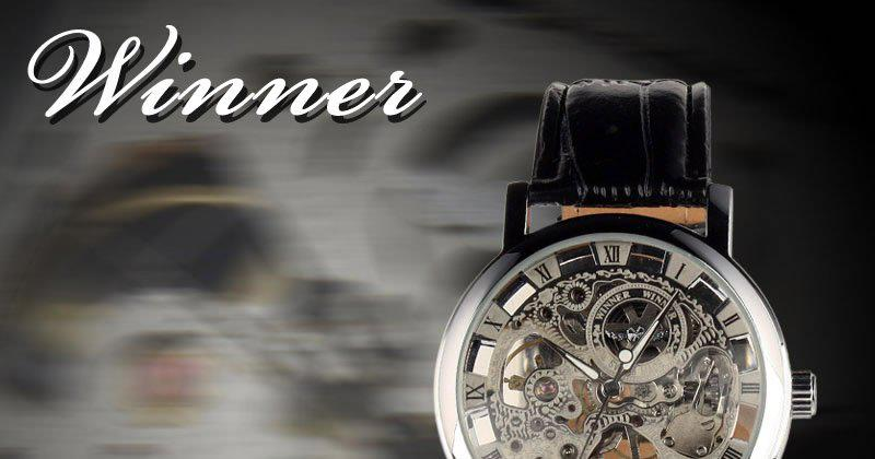 Watch for 2012 Free Shipping New Hand-winding Skeleton Leather Mechanical Mens Watch Wholesales Good Quality