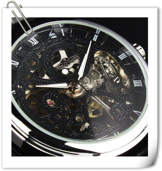 2012 New Hand-winding Skeleton Leather Mechanical Mens Watch Watch for 2012