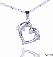 Free Shipping Charms Love Dolphin Heart Dangle 20mm 925 Sterling Silver Pendant Jóias Jóias Colar Jóias DIY Fazendo SD221 Atacado