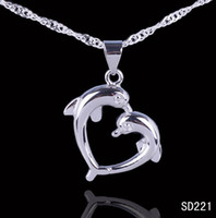 Wholesale Dolphin Silver - Simple Style Chic Romantic Lover Dolphin Pendant 925 Sterling Silver Charms Dangle Jewelry Pendant Necklace DIY 5pcs bag Free P&P SD221*5