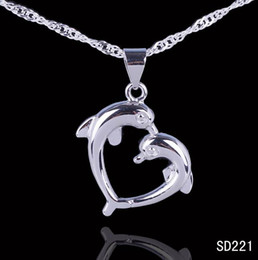 Wholesale 925 Silver Necklace Dolphin - Simple Style Chic Romantic Lover Dolphin Pendant 925 Sterling Silver Charms Dangle Jewelry Pendant Necklace DIY 5pcs bag Free P&P SD221*5