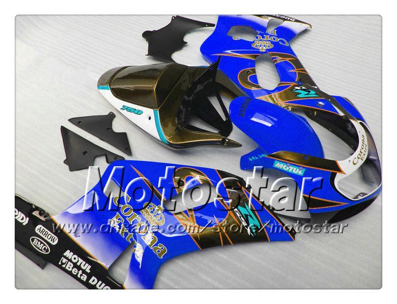 Carrosserieback voor Suzuki GSXR 600 750 K1 2001 2002 2003 GSXR600 GSXR750 01 02 03 R600 R750 Glanzend Donkerblauw Corona Fairing Set RR36