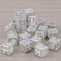 Wholesale European Rhinestone Cube - Free Shipping 20pcs lot Clear Rhinestone Crystal Square Silver Beads For Making Jewelry, European Big Hole Charms Fit DIY Bracelet 010191