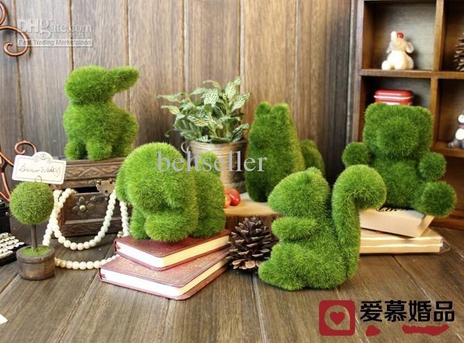 Animale fatto a mano coniglio piccolo cane scoiattolo alpaca erba artificiale piante di terra piante in vaso artigianato decorazioni ufficio a casa