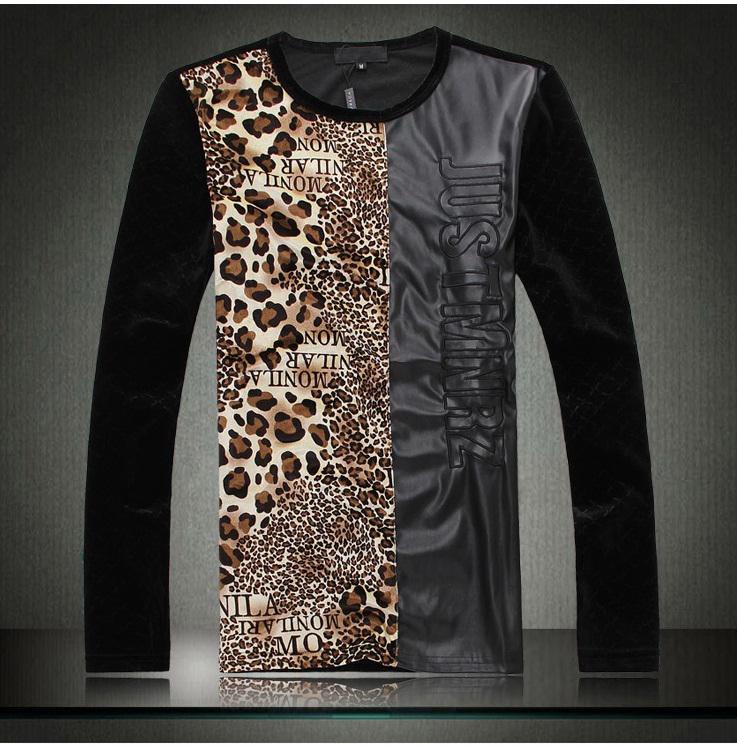Hot Sale Mens Leopard Print Shirt Leather Patchwork Full Sleeve ...