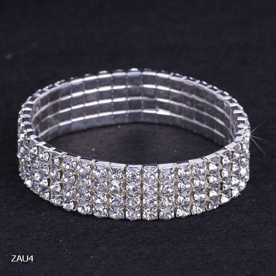 4b4c499a22e23 Free Shipping 4 Row Pure Royal Crystal Rhinestone Elastic Stretch Bracelet  Hand Chain Czech Wedding Bridal Jewelry Bangle Wristband ZAU4
