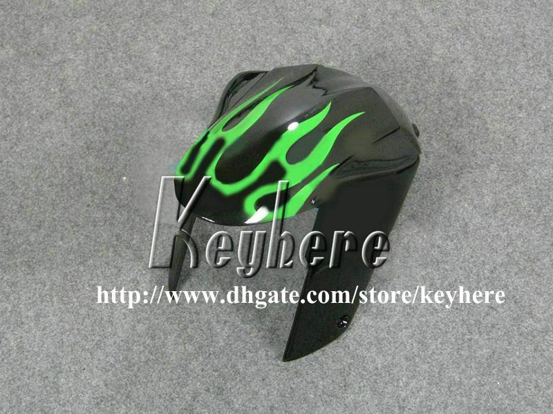 Free 7 gifts ABS race fairing kit for Kawasaki Ninja ZX6R 2007 2008 ZX 6R 07 08 ZX 6R G4m fairings green flames in black motorcycle bodywork