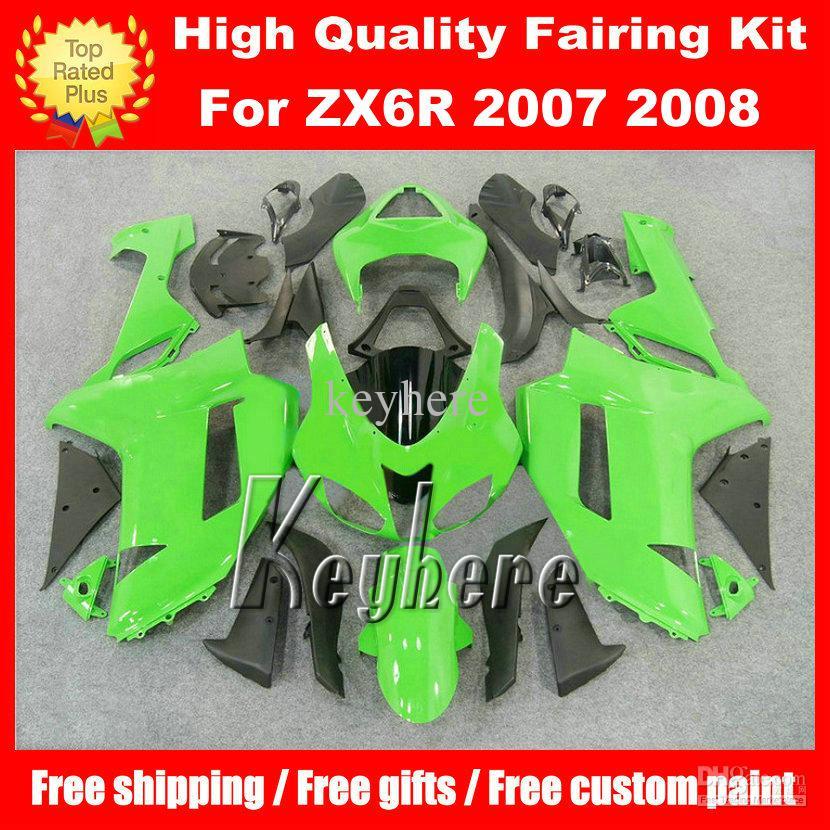 Free 7 gifts ABS race fairing kit for Kawasaki Ninja ZX 6R 2007 2008 ZX6R 07 08 ZX-6R G4n fairings high grade green black motorcycle parts