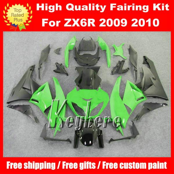 Freie 7 Geschenke ABS-Rennverkleidung Verkleidung für Kawasaki Ninja ZX 6R 2009 2010 ZX6R 09 10 ZX-6R G4m Verkleidungen heißer Verkauf grün schwarz Motorrad Karosserie