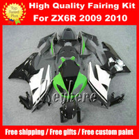 Wholesale kawasaki zx6r racing fairings - Free 7 gifts ABS race fairing kit for Kawasaki Ninja ZX6R 2009 2010 ZX 6R 09 10 ZX 6R G5m fairings new green white black motorcycle body kit