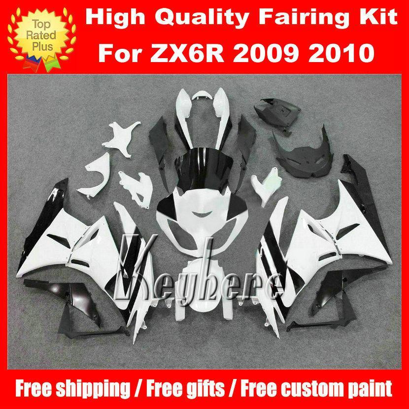 Free 7 gifts ABS race fairing kit for Kawasaki Ninja ZX 6R 2009 2010 ZX6R 09 10 ZX-6R G8m fairings hot sale white black motorcycle bodywork