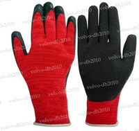 Wholesale Latex Work Gloves Wholesale - NEW black latex coated red cotton working glove LLY200