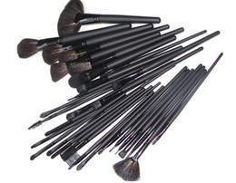 Discount kabuki makeup tools - 32pcs Set Professional Makeup Brush Set Cosmetic Make up Brush With Fashion Roll Up Bag Colour makeup tools Free shippin