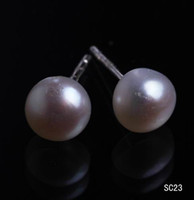 Wholesale Sterling Silver Ear Plugs - Free Shipping Chic Pearl 925 Sterling Silver Ear Studs Earrings Charming Jewelry With Rubber Plug SC23