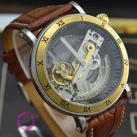 Wholesale Dress Minimum - Minimum order $15 (mix order) Hollow Skeleton gold Special Transparent Dial Fan Flywheel automatic self wind mechanical Watch