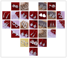 Wholesale Girl Earrings - hot New mixed 50pair Lady girl earring 925 sterling silver jewelry factory price Fashion Jewelry Manufacturer