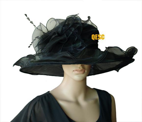 Chapeau noir grand en organza, accessoire de coiffure avec large bordure en organza et plumes pour mariage et kentucky derby.brim largeur 15.5cm.LIVRAISON GRATUITE
