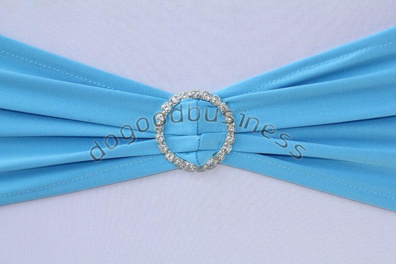 Baby Blue Spandex Stretch Chair Bands Sashes With Diamond