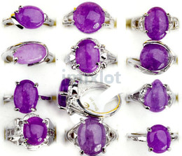 Wholesale Natural Stone Mixed Gemstone - Fashion Jewelry Natural Stone Ring Amethyst Gem Rings Fashion Rings for Party Silver Gemstone Rings Jewelry 30pcs lot [STS25*30]